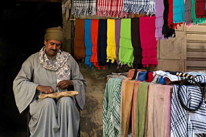 Tailor working in his shop in El-Souk region in Luxor in Egypt