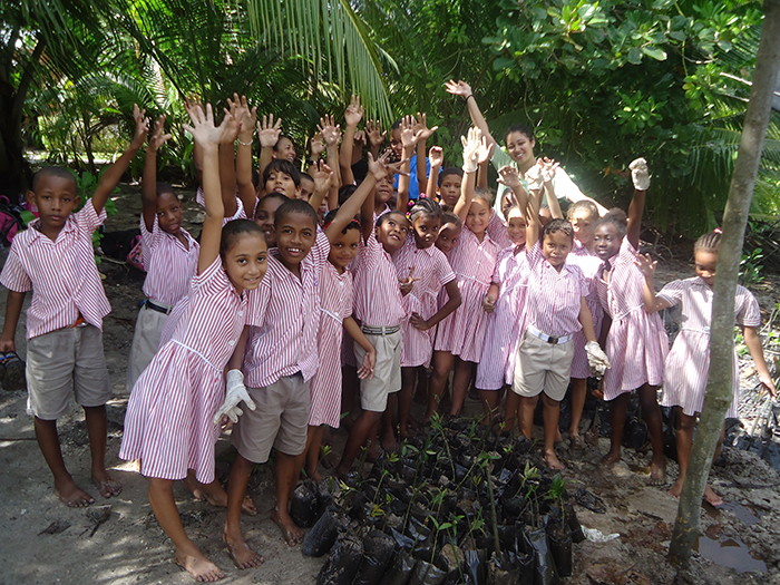 Happy kids after their educational visit to the mangroves