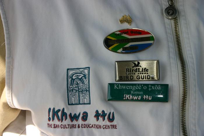 Name badge in the San language and English ©Carrie Hampton