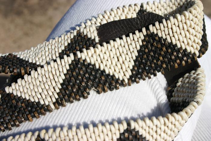 An ostrich bead belt made at !Khwa ttu ©Carrie Hampton