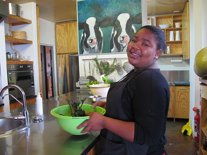 Vee in the kitchens at Whalesong Lodge