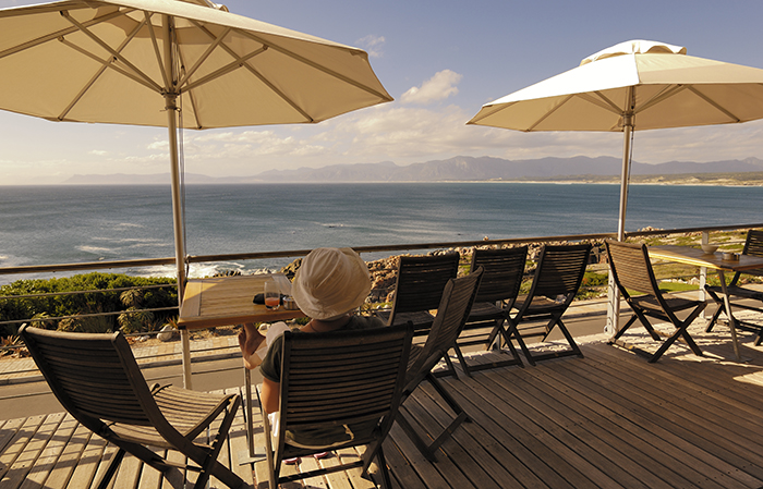 Whalesong Lodge watching whales from terrace