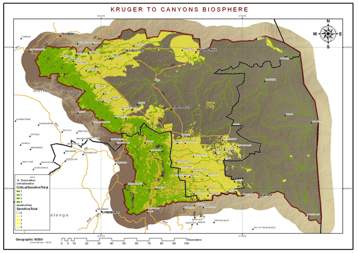 A map of the Kruger to Canyons Biosphere Region