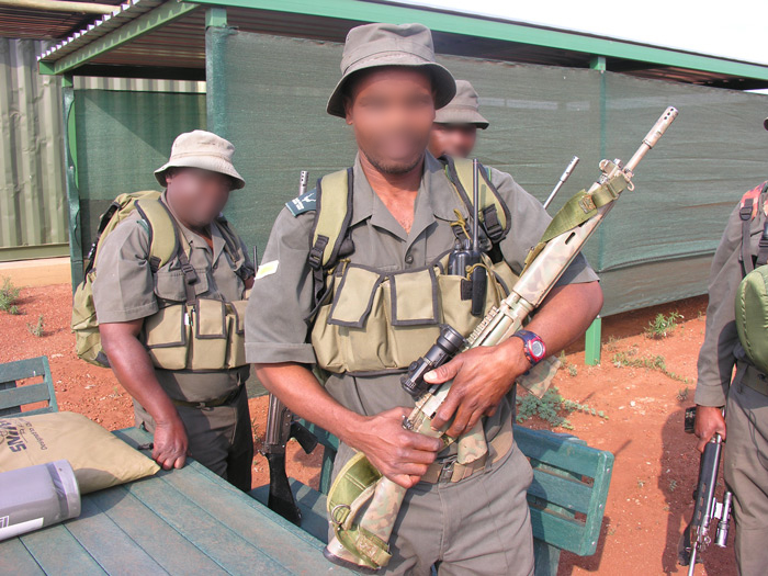 Kruger National Park rangers kitted-out for action against rhino poachers.
