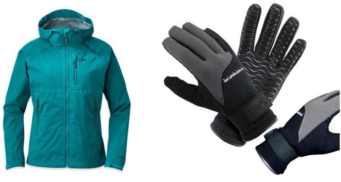 rain jacket and gloves, gorilla trekking