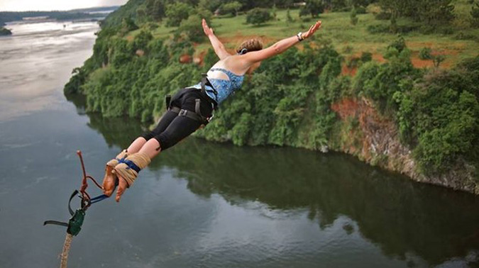 Bungee jumping over the Nile, Uganda