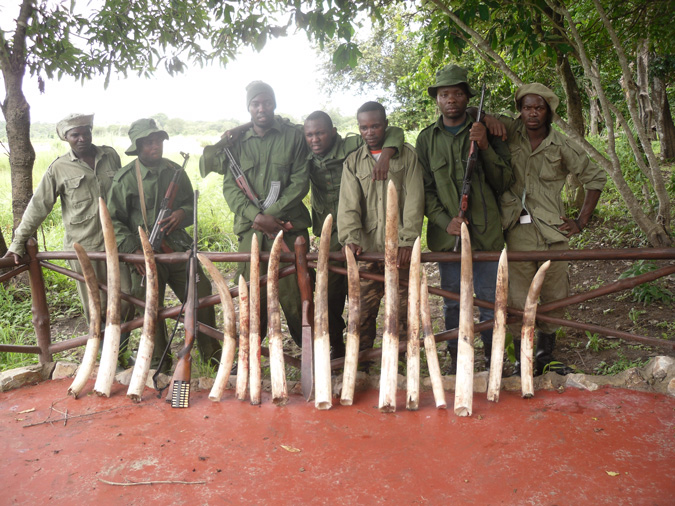 task force with seized ivory, Tanzania