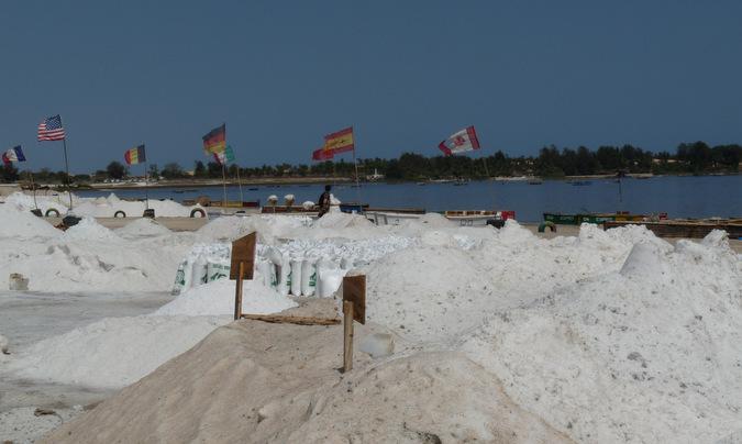 salt mounds Lake Retba, Senegal