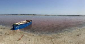 Lake Retba, Senegal, pink water, boat