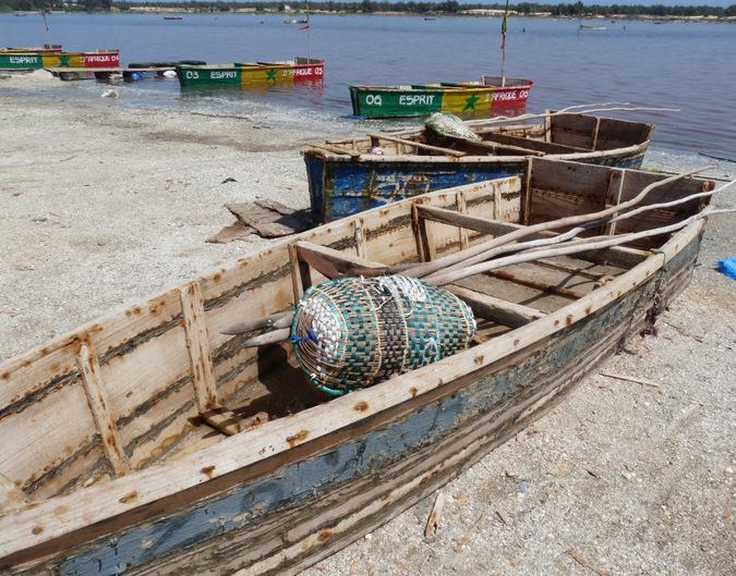 Lake Retba, Senegal, wooden boat