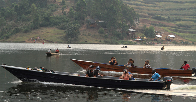 motorised boat on Lake Bunyonyi, Uganda