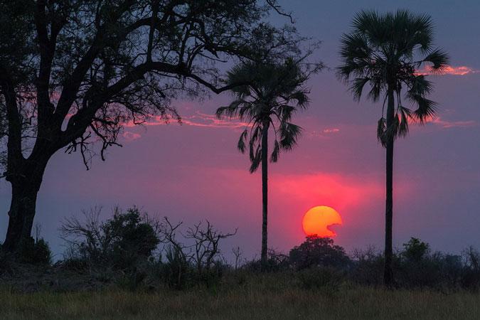 Sunset over the horizon in Botswana
