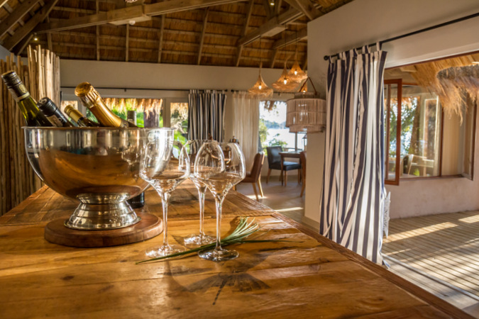 Tongabezi Lodge, wine, champagne, glasses, Zambia