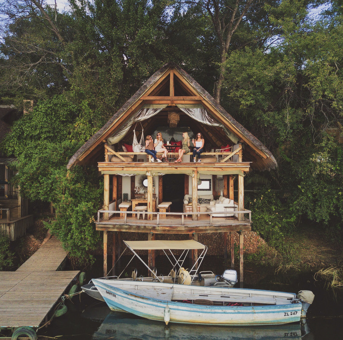 open plan cottage, Zambezi River, boat