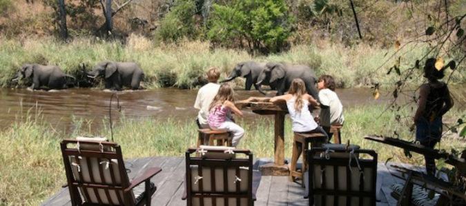 Katavi Safari, children, elephants, Tanzania