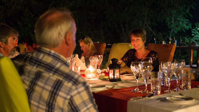 Dining on Lupita island, Tanzania