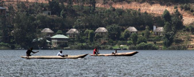 dug out canoe on Lake Bunyonyi, Uganda