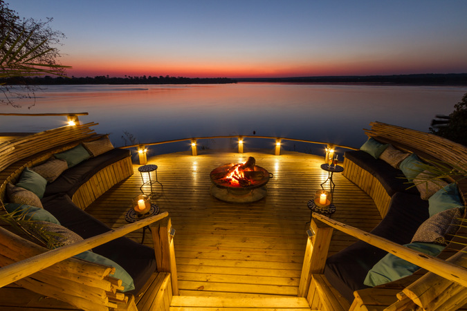 Sunken fire place, Zambezi River, sunset