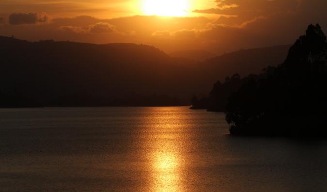 Sunset over Lake Bunyonyi, Uganda