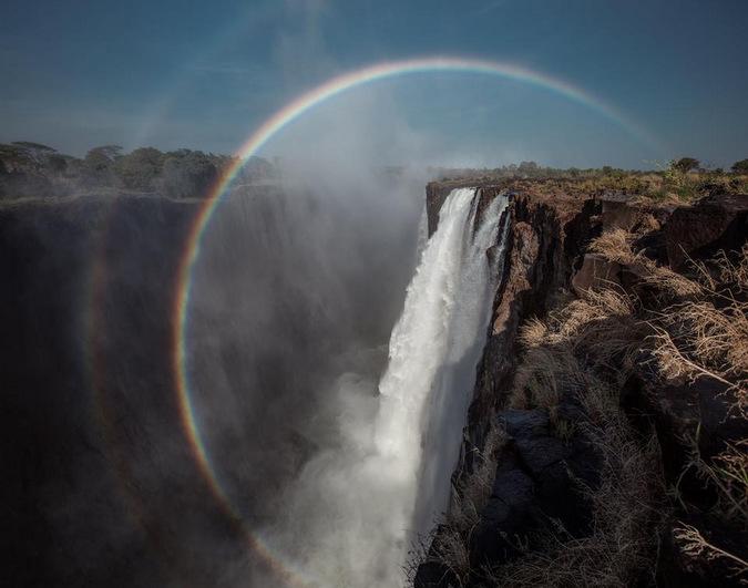 Victoria Falls, circular rainbow
