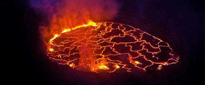 Mount Nyiragongo, volcano, lava, DR Congo