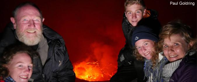 family photo, Mount Nyiragongo, volcano, lava, DR Congo