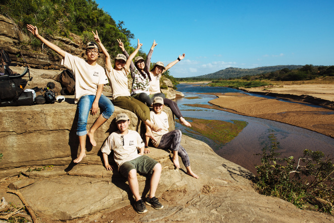 Wild Rhino Youth Ambassadors, Vietnamese youth, in the bush, South Africa