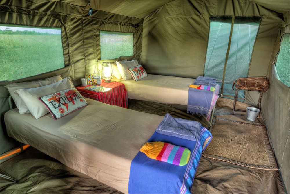 inside a tented camp, canvas tent, African safari