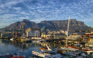 A view of Table Mountain from the V&A Waterfront in Cape Town, South Africa