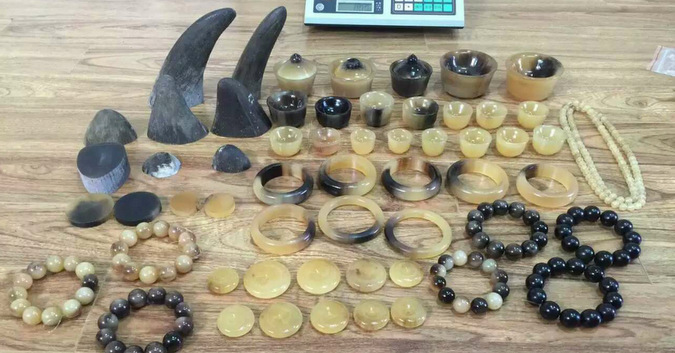 rhino horn, beads, trinkets, illegal, smuggling, South Africa