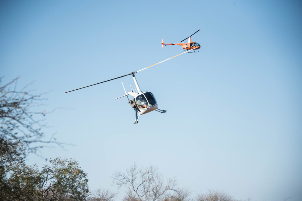Helicopter pilots and scientists working together in the field