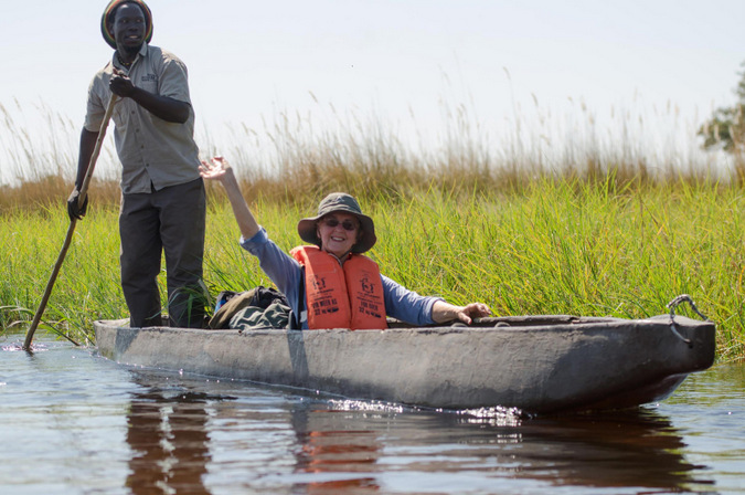 Sailing on a mokoro in the Okavango Delta, Botswana