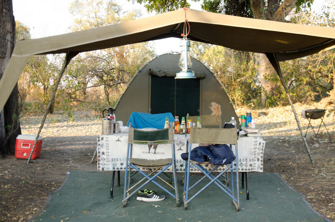 A tent set up at camp in the Okavango Delta, Botswana