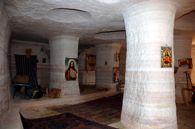 Inside a rock-hewn church in Ethiopia