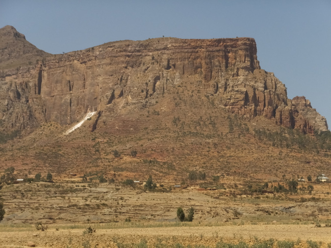 Large mountain in Ethiopia where they carve out churches from rock