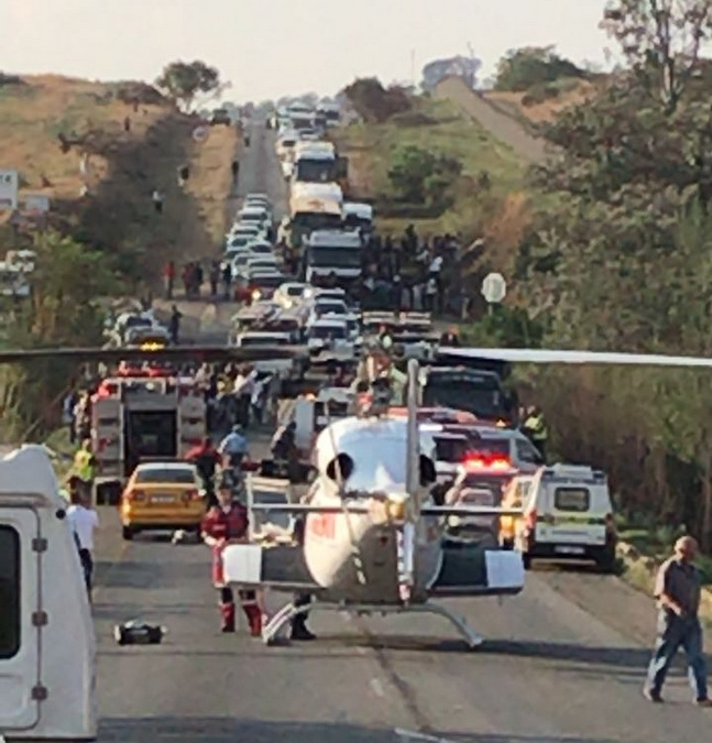 Paramedics at the scene of an accident in Johannesburg