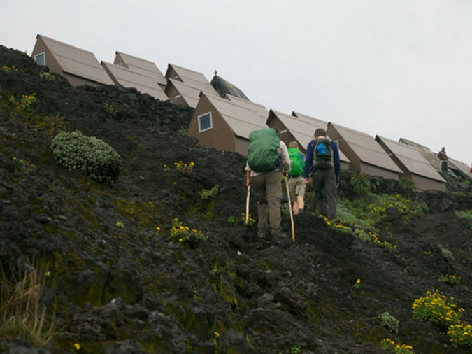 Basic lodgings in small huts on the side of a volcano