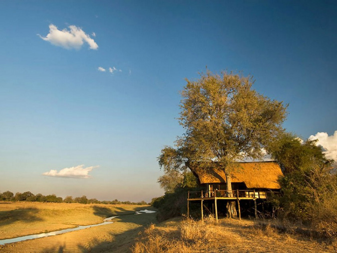 A bush camp on stilts with a view in the middle of nowhere while on safari