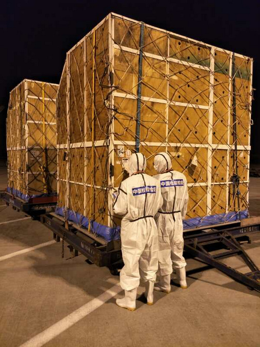 Transport crates carrying giraffes heading to China
