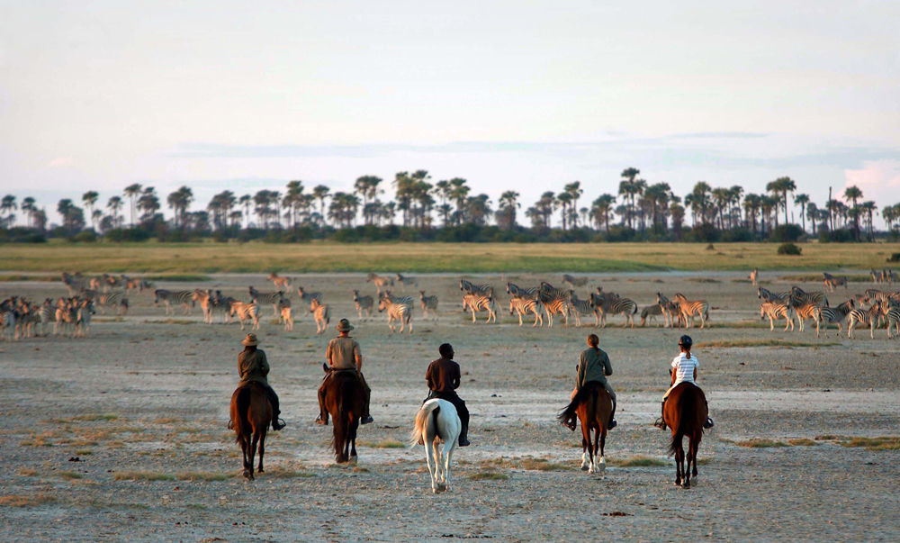 A group of people riding on horseback