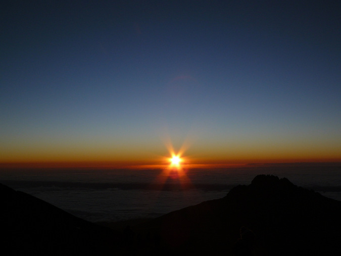 Sunrise and nearly at the summit of Mount Kilimanjaro