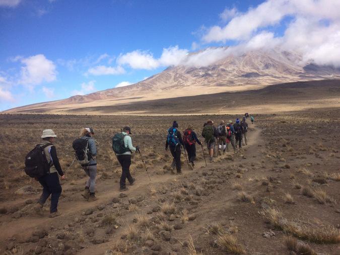 Trekking across the saddle towards high camp at Mount Kilimanjaro