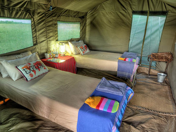 A typical mobile tented camp accommodation