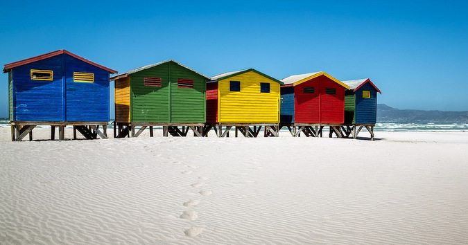 Colourful beach houses on St James, Muizenberg, Cape Town