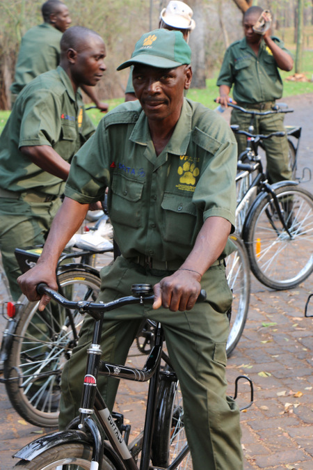 An anti-poaching scout on a bicycle in Victoria Falls