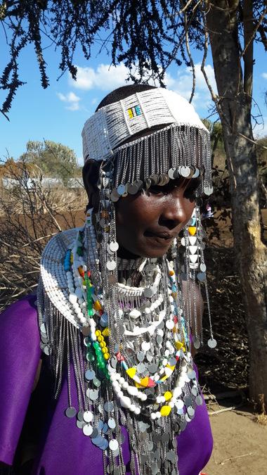 Maasai woman in full traditional dress
