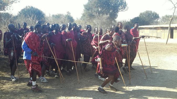 Group of Maasai warriors dancing