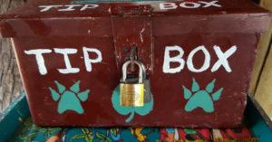 Tip box at a safari lodge © Simon Espley