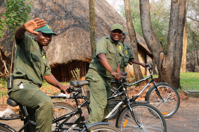 Anti-poaching scouts on bicycles