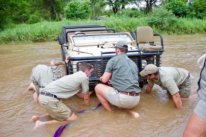 Field guides getting a safari vehicle out of the water